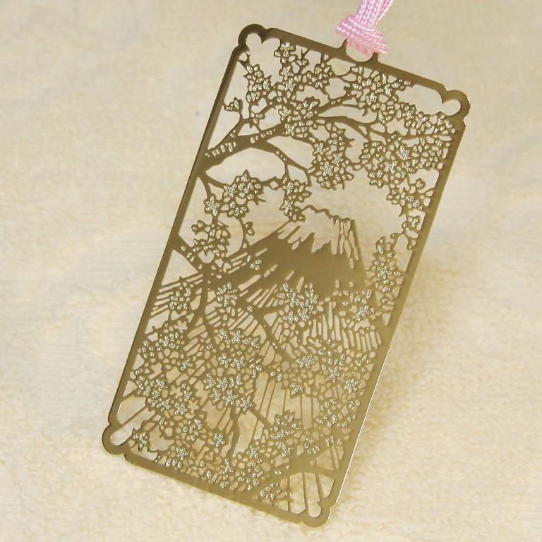 金のしおり「富士と桜」