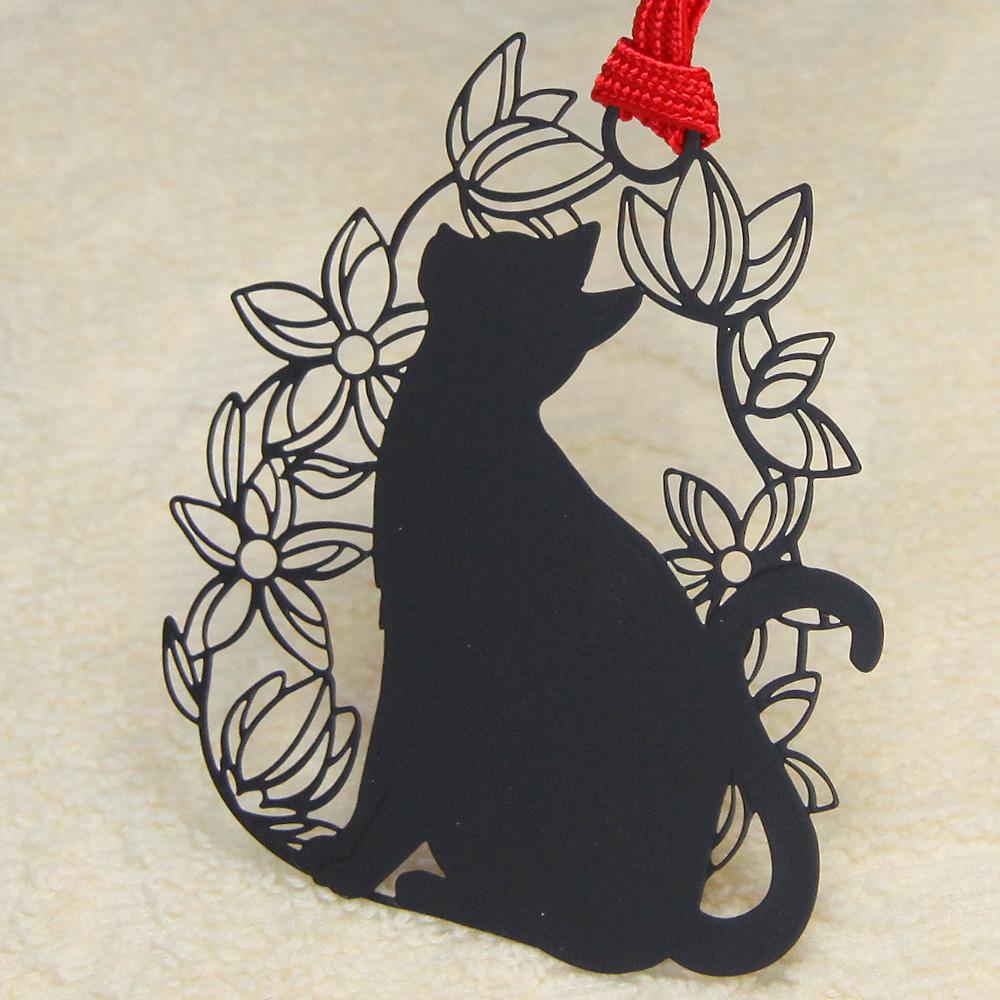 キャットブックマーク「猫と花B」